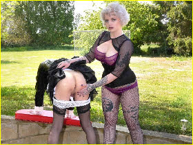 Transvestite maid drops his knickers for a spanking from Mistress