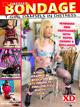 Transvestites tied and teased in ropes and chains