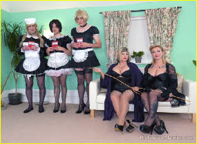 Three transvestite maids are forced to take the cane for failing at their chores